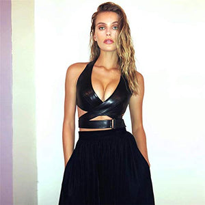 Cut Out Cross Bra Crop Halter