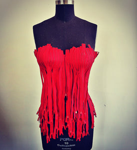 Blood Red Zipper Corset