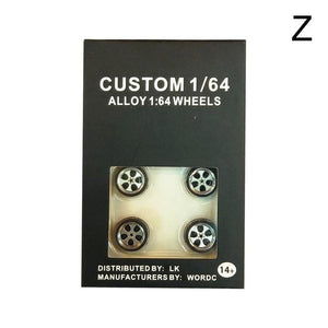 4pcs/Set 1/64 Car Wheels Tire Modified Vehicle Alloy Car Refit Wheels Tires For Cars Suitable For Some Tomica Cars Toys for Kids