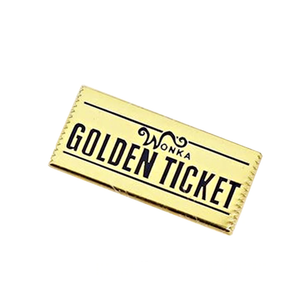 Smart Pins - Limited Edition Golden Ticket Willy Wonka Enamel Pin Badge Brooch