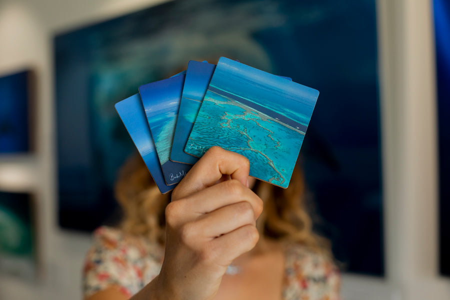 great barrier reef and whitehaven beach coaster gift set by brooke miles