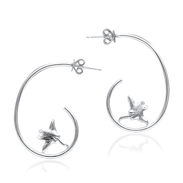 Hoop Manta Ray Earrings - Sterling Silver
