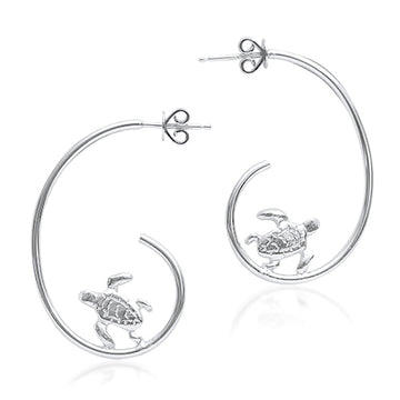 Hoop Turtle Earrings - Sterling Silver