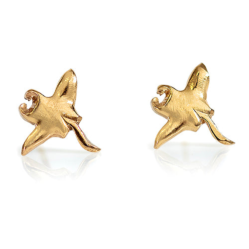 Manta Ray Earrings Gold Plated
