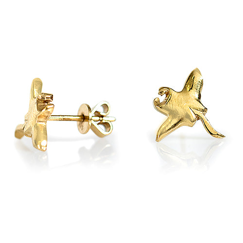 Manta Ray Earrings Gold Plated  side