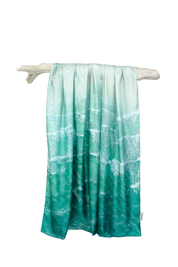 Silk Sarong - 'White Waves'