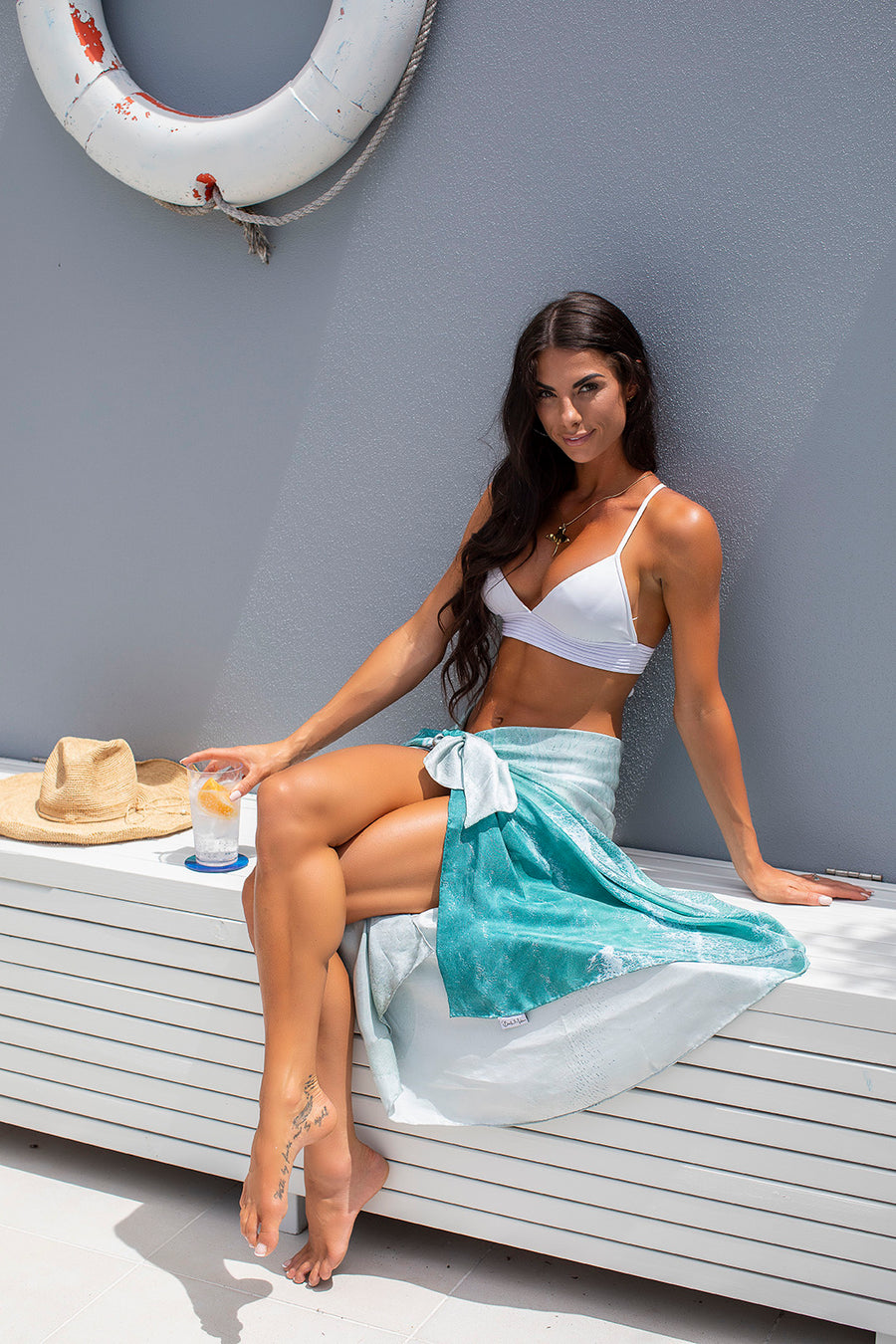 Silk Sarong White Waves Photoshoot
