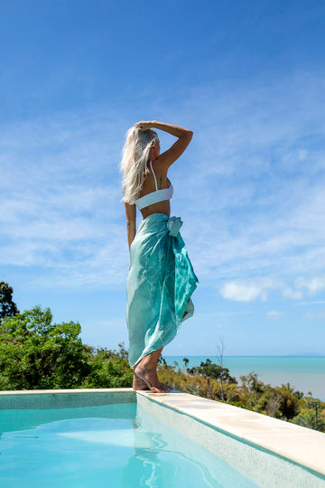 Silk Sarong White Waves