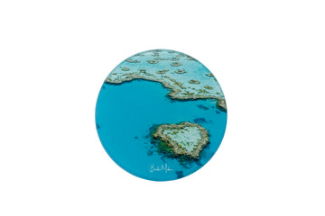 Round Glass Photo Coaster Coral Heart Wholesale