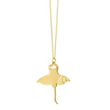 Large Manta Ray Pendant - Gold Plated