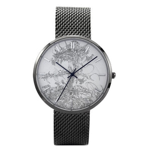 """Flying Laser"" Art Watch - 30 Meters Waterproof Quartz Fashion Watch With Casual Stainless Steel Band"