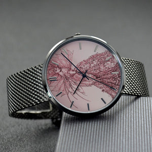 """Pink Sussurus"" Art Watch - 30 Meters Waterproof Quartz Fashion Watch With Casual Stainless Steel Band"