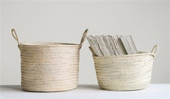 Hand-Woven Moroccan Basket with Handles