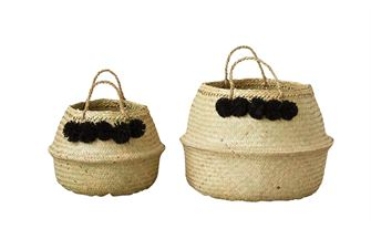 Set of Two Collapsible Jute Baskets with Ornamental Pom Pom