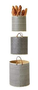 Set of 3, Round Palm Leaf Baskets with Leather Handles