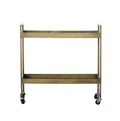 Two Tier Bar Cart with Antique Brass Finish