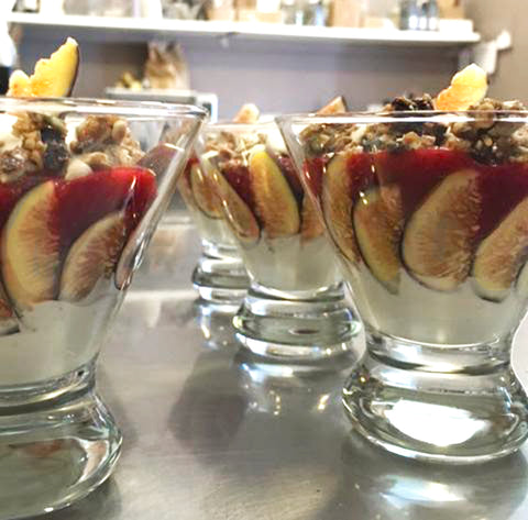 Plant based cashew cream fig sundae