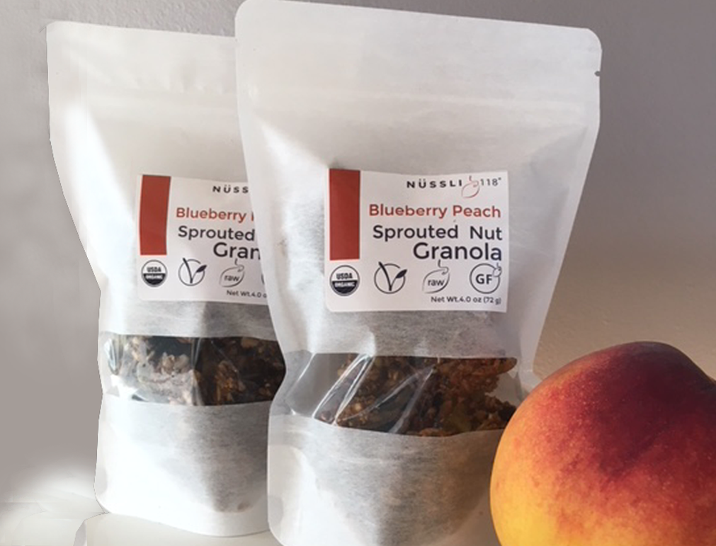 Blueberry Peach Sprouted Nut Granola