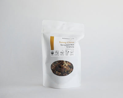 Raw vegan organic sprouted nut and seed citrus lemon orange granola by Nussli118.