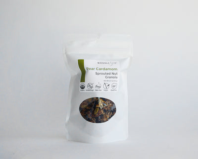 Raw vegan sprouted nut seed pear cardamom granola by Nussli118.