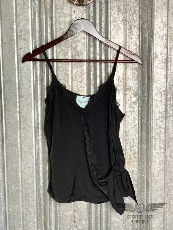 Black Lace Trim Wrap Tank