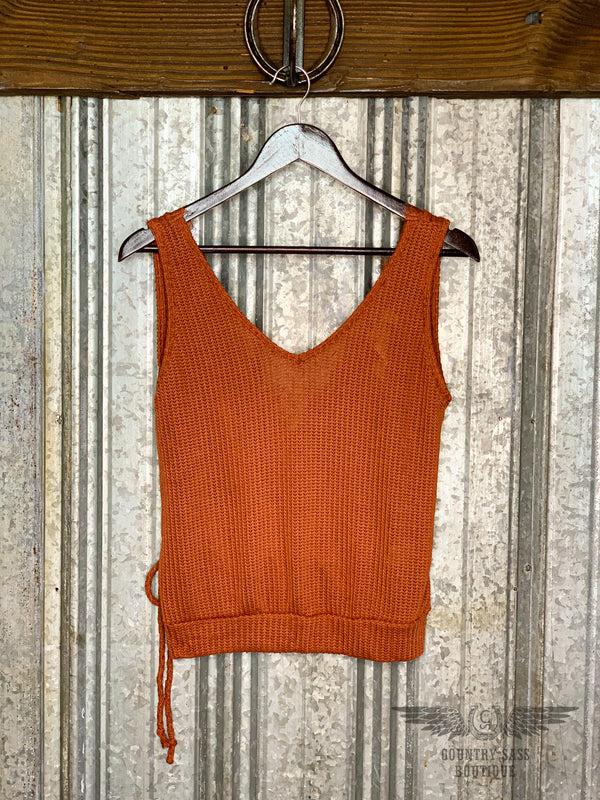 Rust Knit Wrap Tank