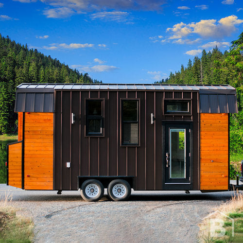 Exterior of wood and metal tiny house on wheels