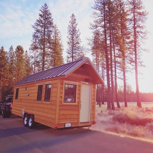 Exterior of tiny house on wheels built by Liberty Cabins