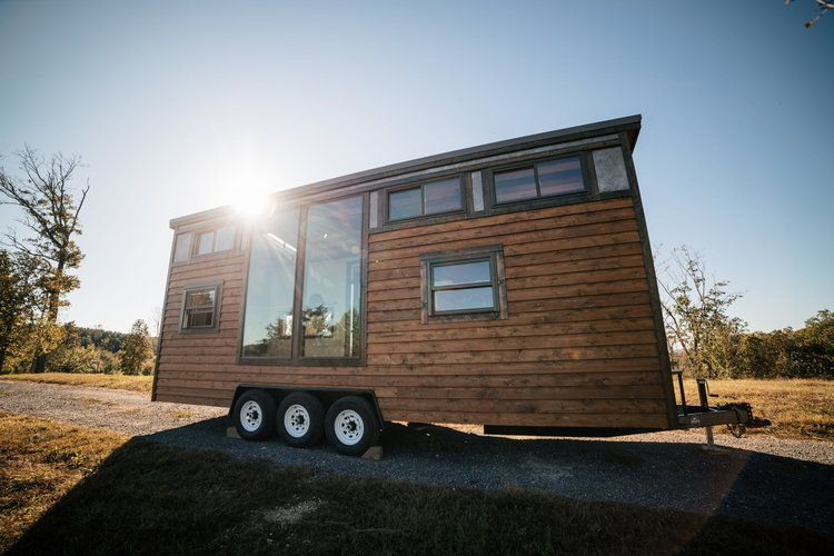 Exterior of tiny house on wheels built by Wind River Tiny Homes