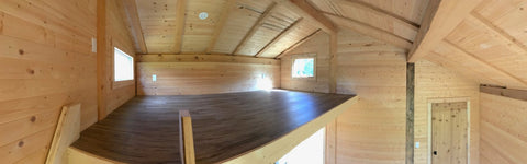 The loft in the red tiny house