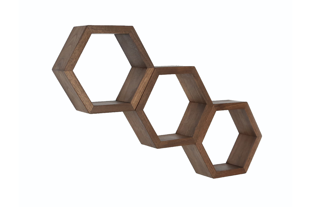 Haase Handcraft Walnut Honeycomb Shelves