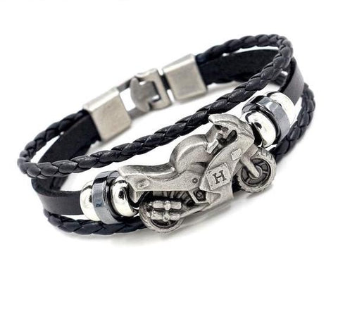 Leather Motorcycle Bracelet
