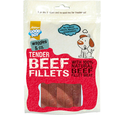 10 x Good Boy Waggles & Co Tender Beef Fillets Dog Treats 90g - Good Boy - My Pet Gift Box