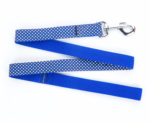 Handmade Navy Polka Dot Dog Lead