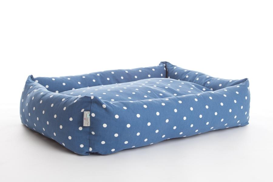 Dotty Denim Bolster Dog Bed - In Vogue Pets - My Pet Gift Box