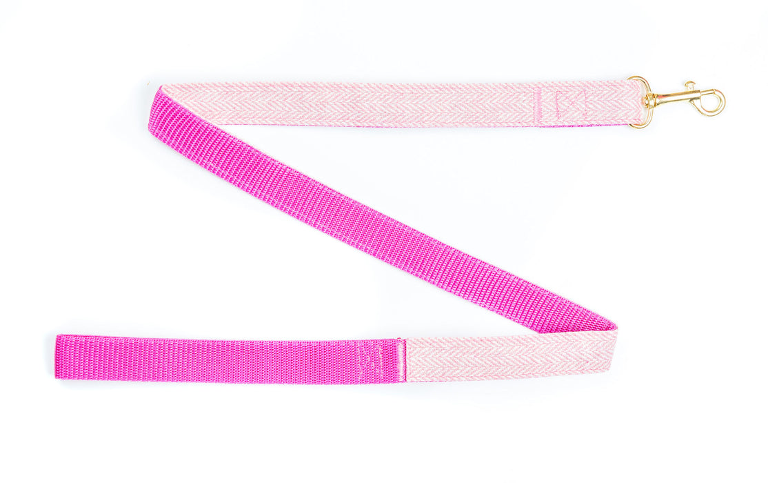 Pink Tweed on Gold Dog Lead - Pet Pooch Boutique - My Pet Gift Box