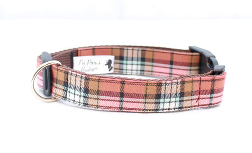 Mocha Barkberry Plaid Dog Collar