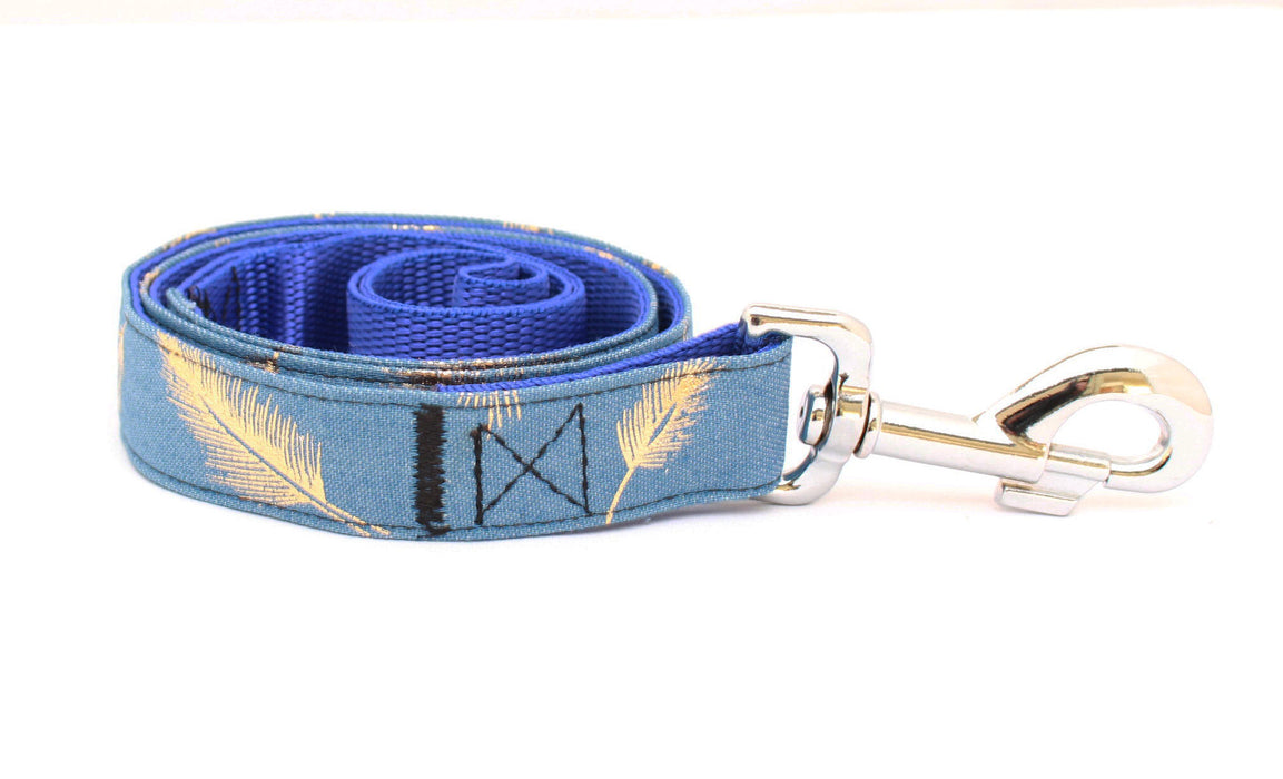 Denim Gold Feather Dog Lead - Pet Pooch Boutique - My Pet Gift Box