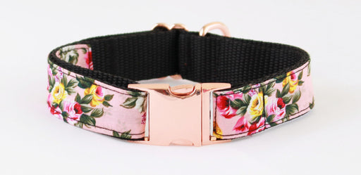 Rose Pink Peony Rose Gold Dog Collar - Pet Pooch Boutique - My Pet Gift Box