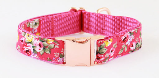 Fuschia Pink Peony Rose Gold Dog Collar - Pet Pooch Boutique - My Pet Gift Box