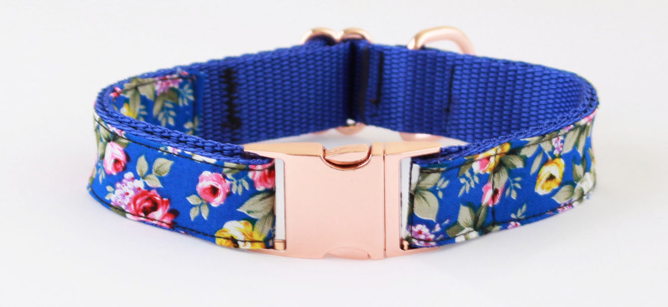 Royal Blue Peony Rose Gold Dog Collar - Pet Pooch Boutique - My Pet Gift Box
