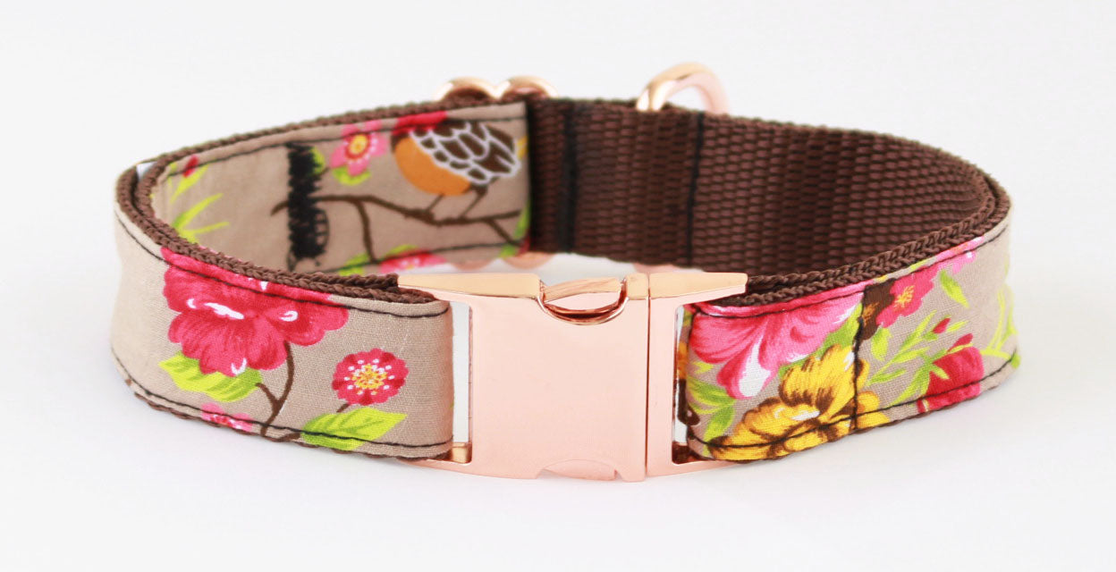 Vintage Birds Rose Gold Dog Collar - Pet Pooch Boutique - My Pet Gift Box