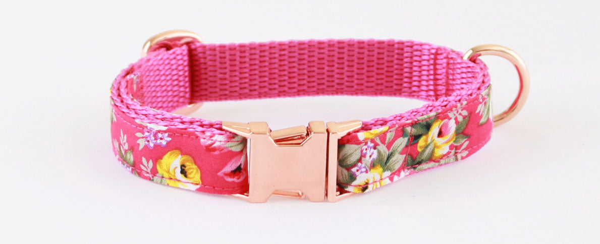 Fushia Pink Peony Gold Slim Fit 15mm Dog Collar - Pet Pooch Boutique - My Pet Gift Box