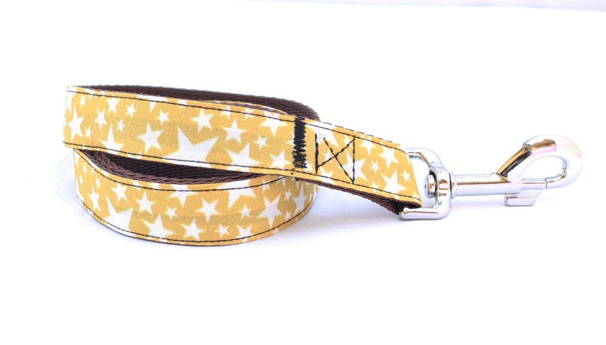 Mustard Yellow Stars Dog Lead - Pet Pooch Boutique - My Pet Gift Box
