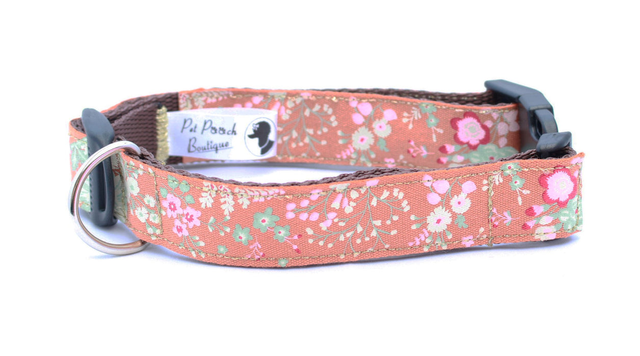 Ginger Cabbage Rose Dog Collar - Pet Pooch Boutique - My Pet Gift Box