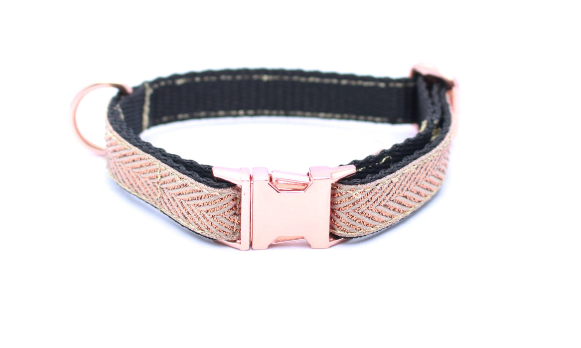 Copper Gold Herringbone Slim Fit 15mm Dog Collar - Pet Pooch Boutique - My Pet Gift Box