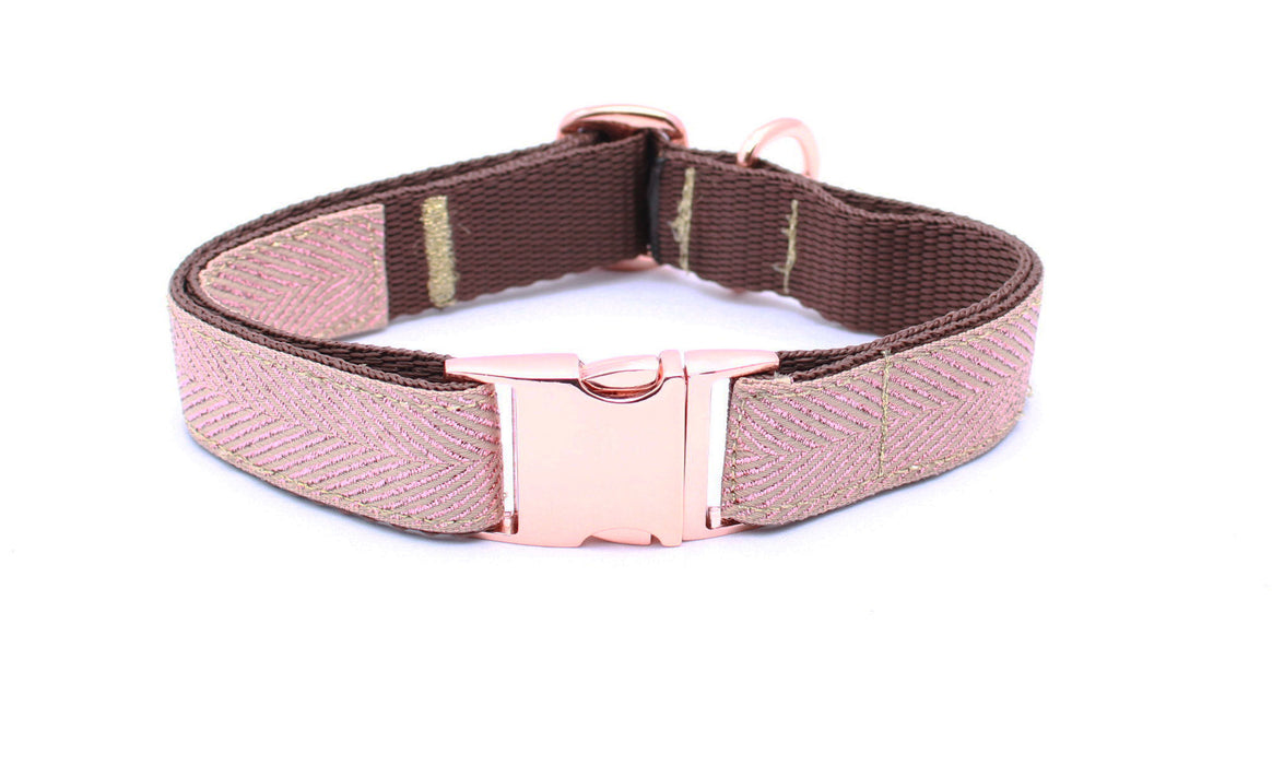 Rose Gold Herringbone Dog Collar - Pet Pooch Boutique - My Pet Gift Box