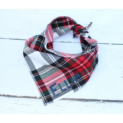 Alfies Plaid Personalised Dog Bandana