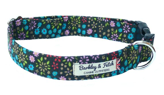 Baby Cord Ditsy Flower Dog Collar - Barkley & Fetch - My Pet Gift Box