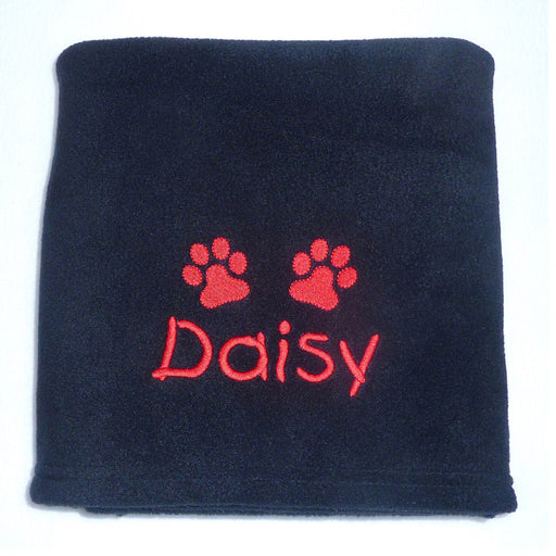 Personalised Small Dog Blanket - Black - My Posh Paws - My Pet Gift Box